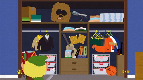 Kyle's closet.  How many references can you spot?